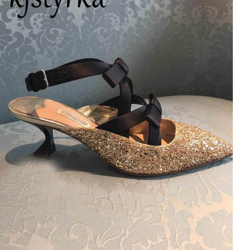 Kjstyrka 2018 Spring Summer New Arrived Women Shoes Bling Gitter Pointed Toe Bowknots Ladies Slingback Pumps High Heels 5cm new 2017 spring summer women shoes pointed toe high quality brand fashion womens flats ladies plus size 41 sweet flock t179