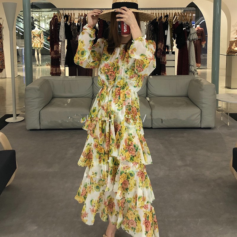 100d8ccf1702b US $66.0 40% OFF 2018 NEW high quality fashion design Yellow Dress Autumn  Summer tiered ruffle irregular floral print midi silk dress party beach-in  ...