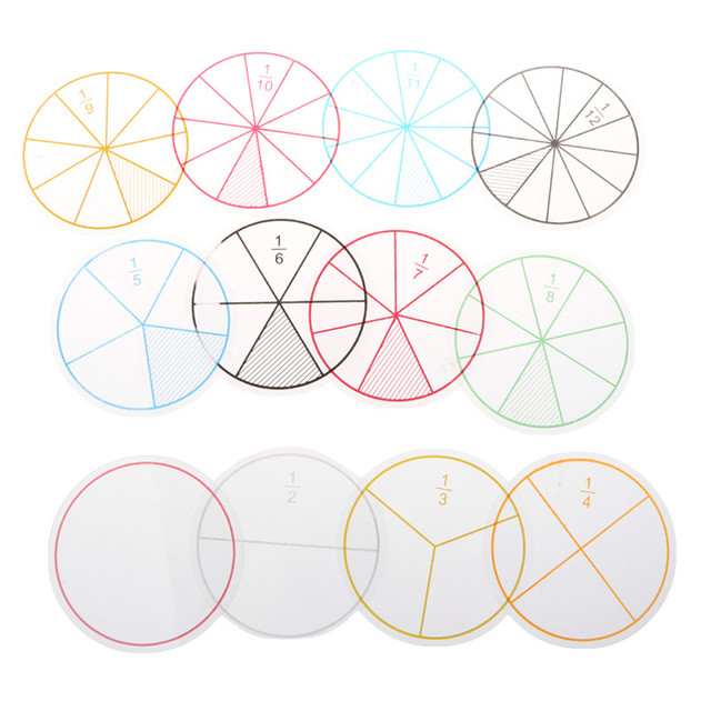 Mathematics Montessori Toy 12pcs Plastic Numbered Fractions Circles Math Chips Good Gift For Kids Over 2 Years