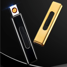 New 2019 USB Lighter For Cigarettes Smoking Electronic Rechargeable WilndProof Push Ignite Cigarette Accessories цена