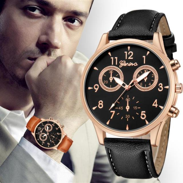 Business Men's Quartz Date Clock Man Leather Wrist Watch