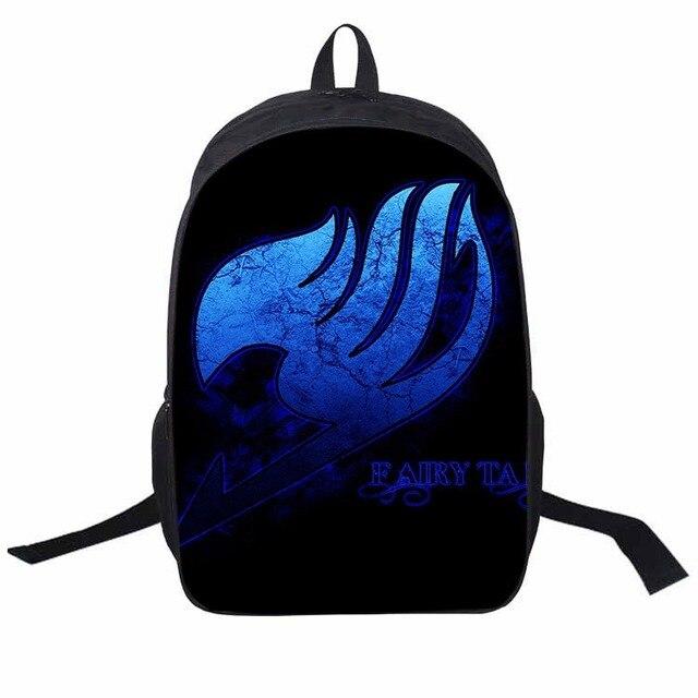 fdf1bdb253 Cute Anime FAIRY TAIL LOGO Printing Backpack Teens Kid Boys Girls END Happy School  Bag Women