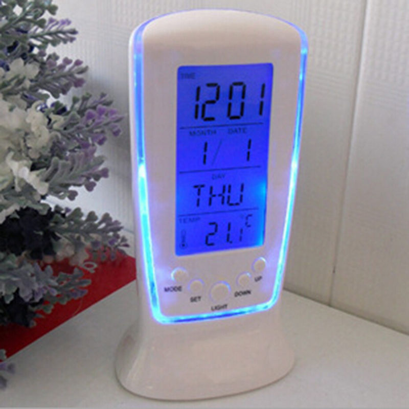 Top Quality Smart Home Digital LED Backlit LCD Display Alarm Clock Thermometer Calendar Home Universal Electronic Clock