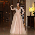 2017 Myriam Fares Champagne Prom Vestidos de Manga Larga de Cuello V Dubei Ribbon Beads Piso-Longitud Árabe Vestido de noche Formal