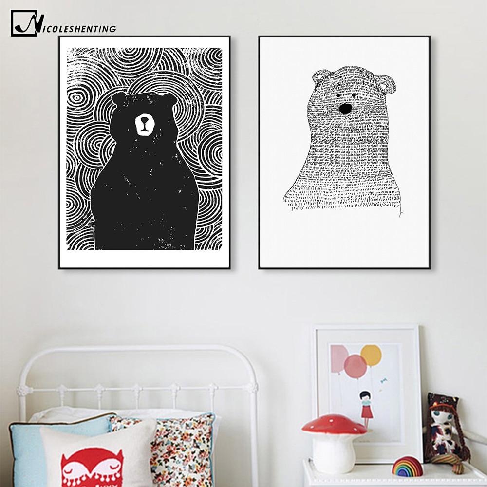 Cartoon Polar Bear Animal Nordic Art Canvas Poster Impresión - Decoración del hogar - foto 3