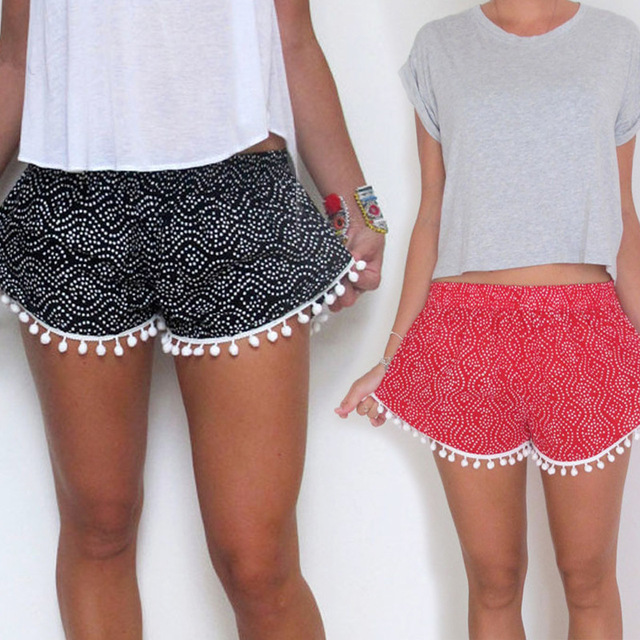 Women Small Tassels Beads Shorts Edge Printing Flower Elastic Waist Shorts 001