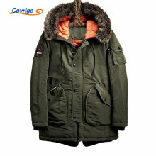 Covrlge 2017 Men Parka Warm Cotton Coat Solid Color Thick Hooded Fur Collar Fashion New Male Coats Winter Jacket M-3XL MWM028