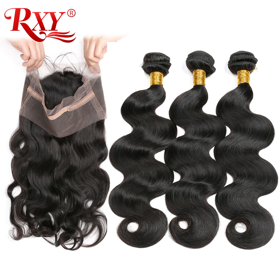 Pre Plucked 360 Lace Frontal With Bundles Malaysian Body Wave 3 Human Hair Bundles With Closure