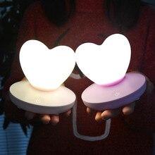 Светодиодный квадратный силиконовый Настольный светильник с регулируемой яркостью в форме сердца, прикроватный ночник, декор для спальни, креативный подарок