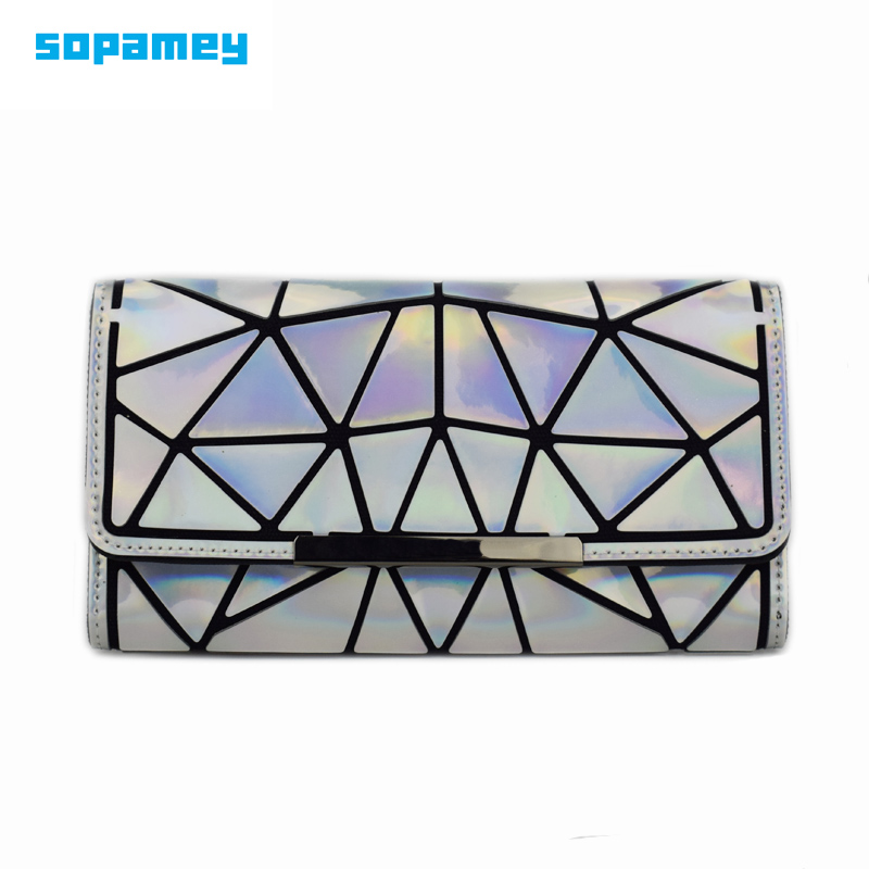 2018 New Women Wallets Purse Geometry Luminous Ladies Clutch Purses Phone Bag Female Zipper Noctilucent Wallet Carteira Feminina