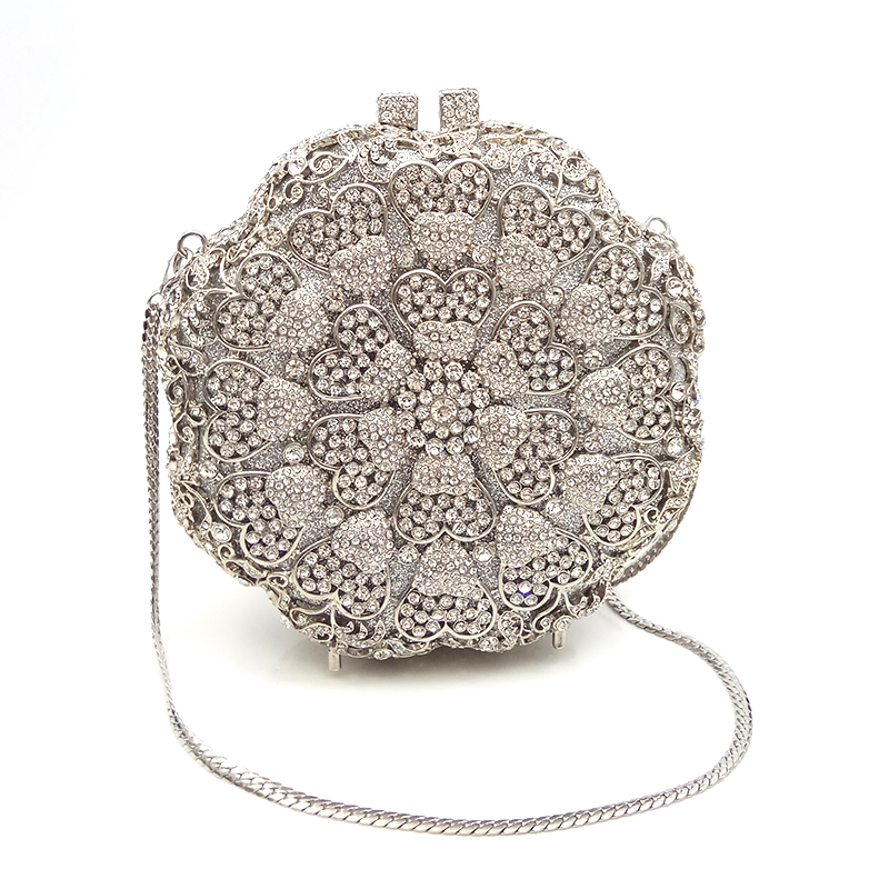 Fashion design clutches women evening party bag diamonds flower shape crystal purses crystal clutches bridal wedding