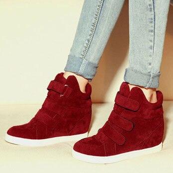 Women Wedge Sneakers Fashion For Increasing Leopard Velcro Height LqUGjSpzMV