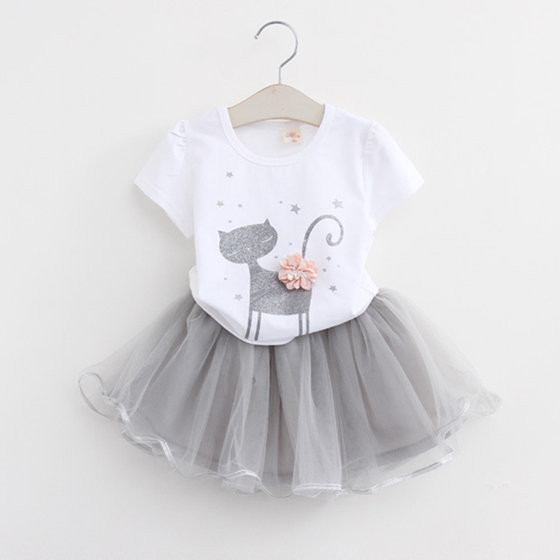 Free shipping 2017 Fashion Spring Boutique Outfits Baby clothes Girls Sets Cute cat Print Long Sleeve Tops Bow Tutu Skirts suits