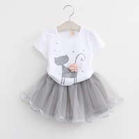 Free Shipping 2017 Fashion Spring Boutique Outfits Baby Clothes Girls Sets Cute Cat Print Long Sleeve