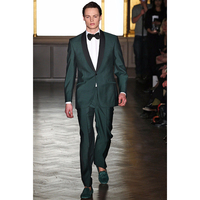 Green Suits Black Shawl Lapel Men Suit Slim Fit Tuxedo 2 Piece Blazer Custom Made Prom Party Suits (Jacket+Pants) H130