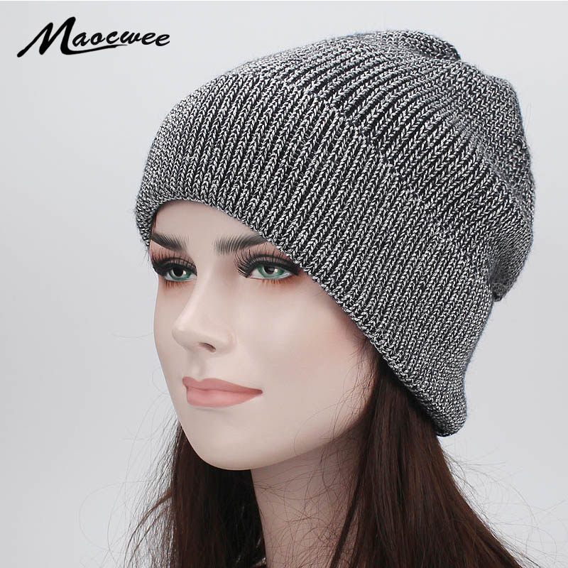 36bf0875f78c6 Winter Hats for Women Knitted Beanie Hat Cap for Girls Wool Hat Female  Skullies Couples Stocking Golden silver silk Hats 2018