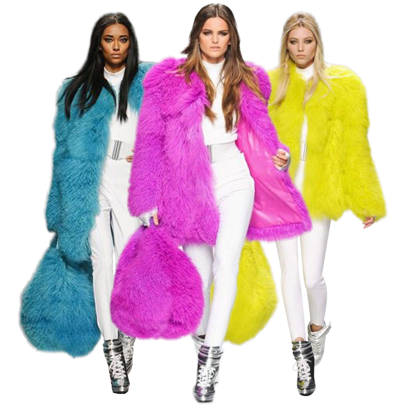 Milan Show Whole Mongolia Tan Sheep Fur Coats Womens 70CM Mid-Long High Fashion Womens Luxurious Lambskin Lamb Fur Parka