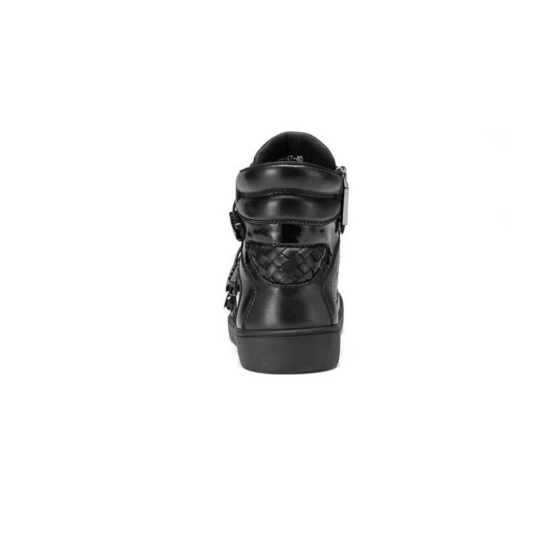 Altura Moda Invisível Sapatos Black Inverno Inglaterra Respirável Punk Masculina Leathe Cinta Fivela Casuais Nova Homens Zipper Estilo Genuine Vaca Do OavOZq