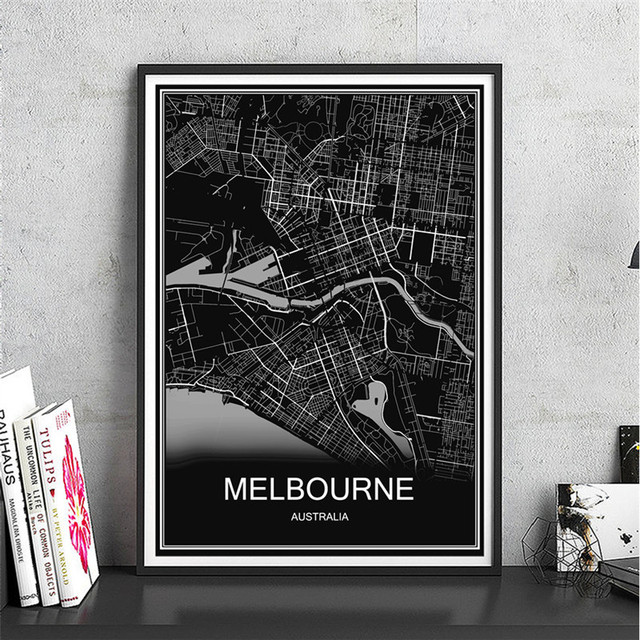 Australia melbourne world map canvas coated paper modern city poster australia melbourne world map canvas coated paper modern city poster abstract print picture oil painting living gumiabroncs Images