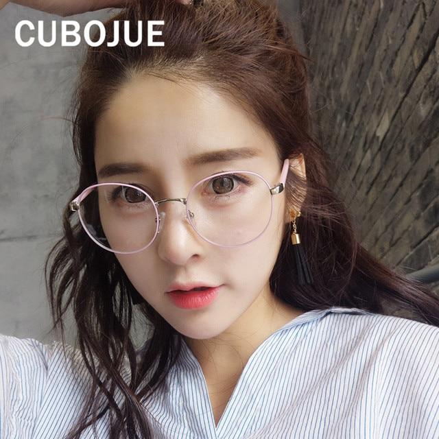 7f7edcc5abce2 Cubojue Grande Rodada Do Vintage Óculos Limpar Lente Óptica da Mulher  Feminino Pontos de Nerd de