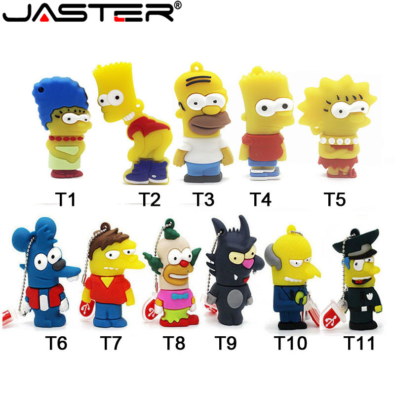 JASTER USB 2.0 Silicone Model Bart Simpson  4GB 8G 16GB 32GB 64GB Memory Stick PenDrive U Disk Pen Drive Cartoon USB Flash Drive