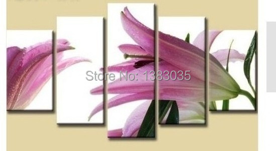 Hand Painted Realist Modern Canvas Art Purple Flowers Paintings 5pc ...