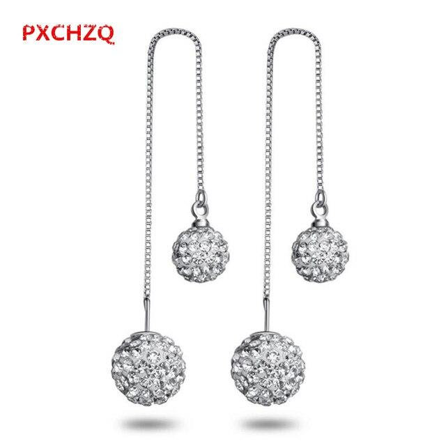 cb52622d2d83f US $4.7 |PXCHZQ Double ball Shambhala female jewelry ear wire earrings  temperament tassel eardrop simple personality wild long section-in Drop ...