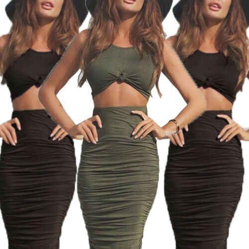 女性のセクシーな夏の服ボディコンタンクトップミディスカート 2 点セットドレスツーピーススーツクロップトップノースリーブボディコンスカートセット