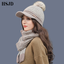 Women Winter Knitted Hats Scarf Set Female Thick Warm Baseball Cap Snapback Pompom Hat Thick  Lining Ski Caps with Visor Bonnet