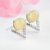 Genuine Natural Yellow Crystal Gems Stone Bead Sterling 925 Silver Fashion Women Stud Earring One Pair