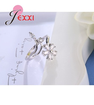 Original 925 Sterling Silver Jewelry for Women Wedding Bride Exquisite Flower Rings AAA+ Cubic Zirconia Female Bague 2