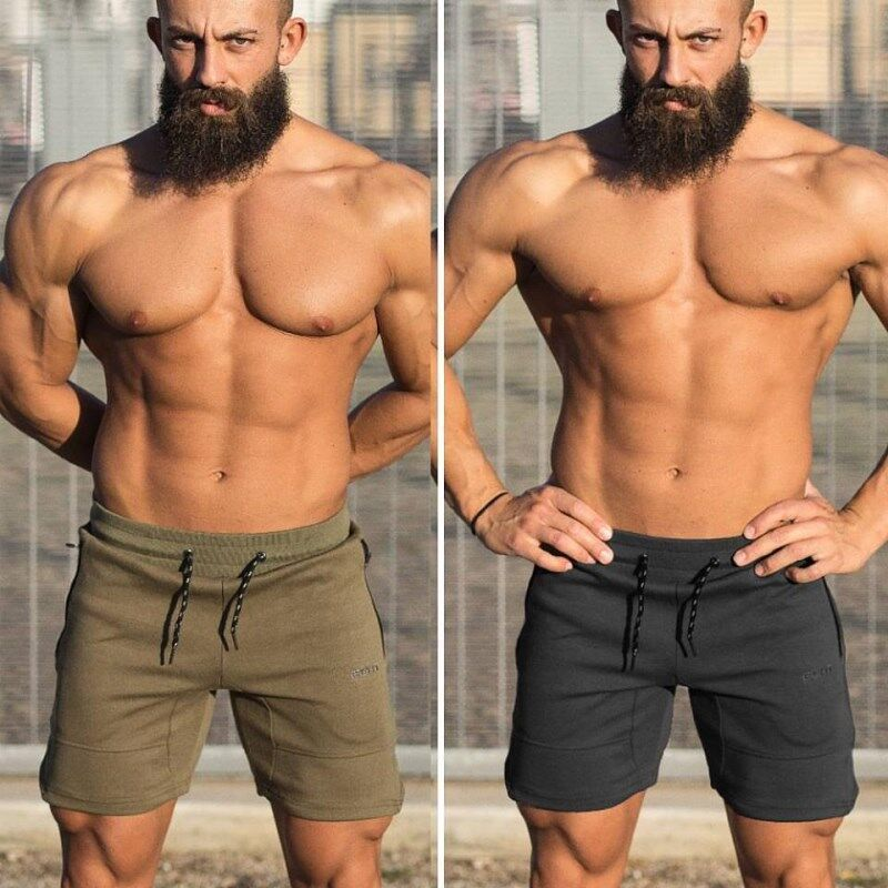 New Hot Men's Muscle Fitness Sports Shorts Men's Summer Casual Loose Beach Shorts Joggers Training Cotton Shorts Plus Size M~5XL