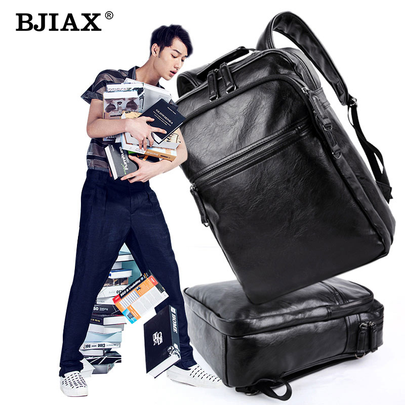 BJIAX Men Leather Backpack High Quality Youth Travel Rucksack School Book Bag Male Laptop Business bagpack USB mochila  Shoulder 2016 new arrival mens women watches top brand quartz watch lvpai vente chaude de mode de luxe femmes montres femmes bracelet