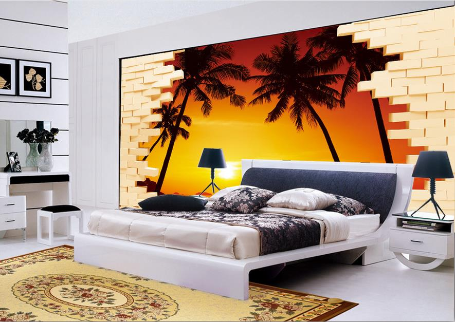 Popular sunset wallpapers buy cheap sunset wallpapers lots for Kitchen 3d wallpaper