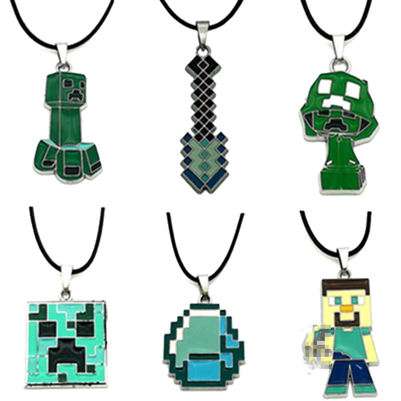 1Pcs Key Chain Hot Sale Minecrafted Toys Sword Steve Ring Anime Game Legoings Minecrafted Necklace Keychain Figure Juguetes Toys