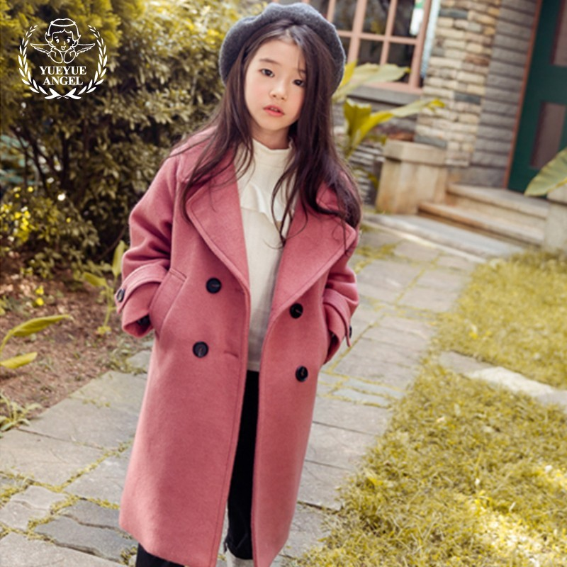 Red Woolen Coat For Girls Winter X-Long Coats England Children Warm Coat For Girl Windbreaker Wool Baby Clothes 9-10 Years Old 2018 winter girls wool coats kids warm fashion lapel long sleeve collar girls clothes woolen coat fit 4 10t