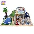 Doll House Furniture Diy Miniature Dust Cover 3D Wooden Miniaturas Dollhouse Toys for Christmas -Clear summer Villas X003