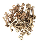 50pcs Key Shaped Unfinished Wood Pieces Crafts Wooden Hanging Embellishments