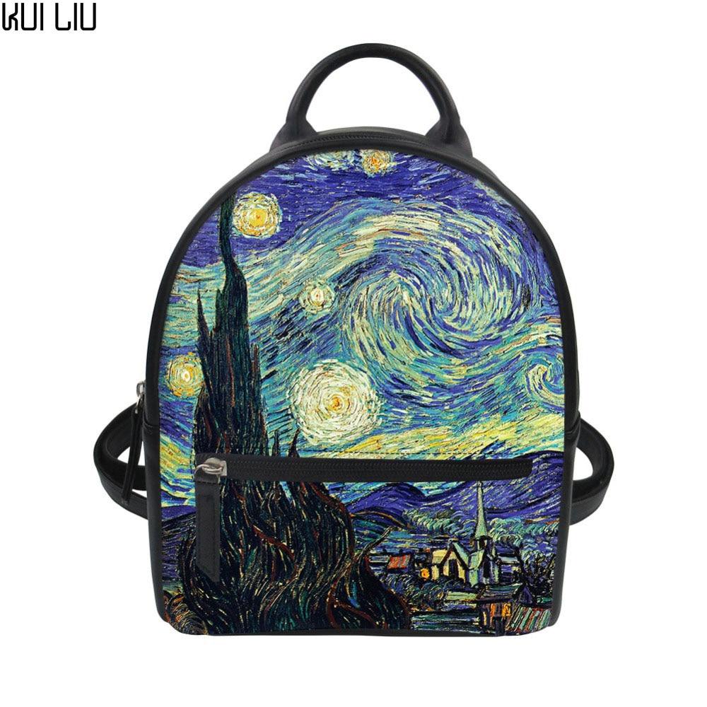 ecf2c4d61664 US $17.73 31% OFF|Customized Women Backpack Mini Rucksack Lady Luxury  Leather Shoulder Bagpack Teenagers Bolsa Vincent van Gogh Starry Night  Print-in ...