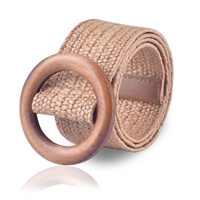 Round Wooden Buckle Dress   Belt   For Women Casual Female Braided Wide Strap Female Designer Woven Girls Elastic PP Straw   Belts