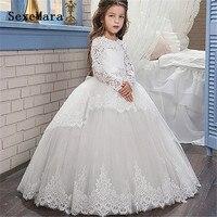 long sleeves white lace first communion dresses for girls ball gown little princess flower girl dresses for wedding custom made