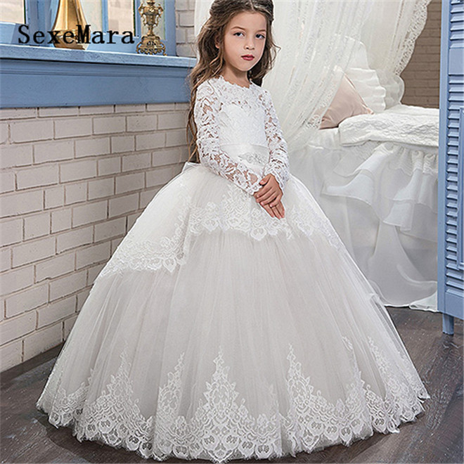 long sleeves white lace first communion dresses for girls ball gown little princess flower girl dresses for wedding custom madelong sleeves white lace first communion dresses for girls ball gown little princess flower girl dresses for wedding custom made
