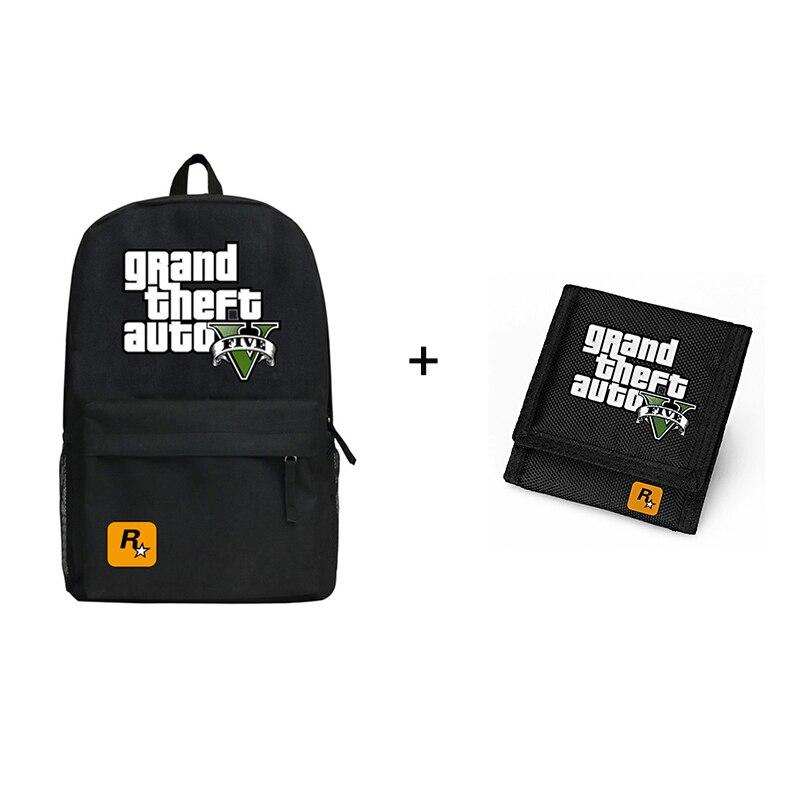 Grand Theft V Auto Backpack Group Gift Combination GTA5 Daypack GTA 5 Oxford Short Carteira Gift Set платье vamp v для gta 5