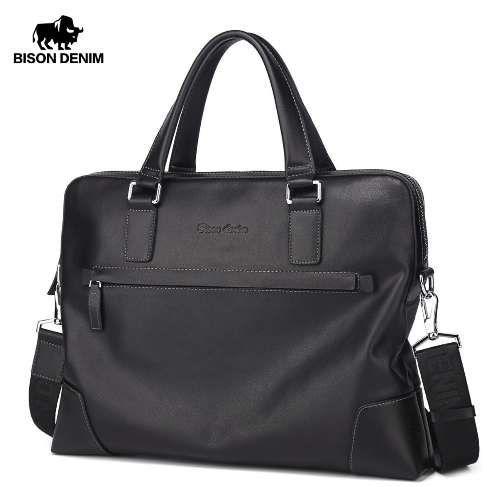 BISON DENIM New Handbag Male Genuine Leather Men Shoulder Bag Big Capacity Business Briefcase Men Laptop Messenger Bag N2633