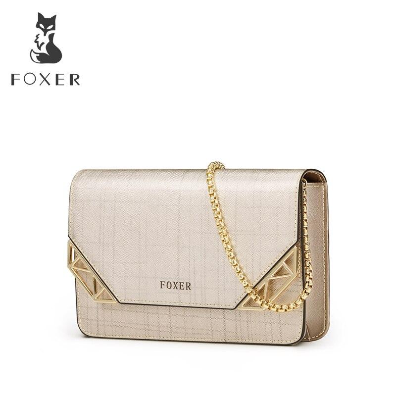 FOXER Brand Women Cowhide Leather Shoulder bag Womens Chain Strap Crossbody Bag Fashion Ladies Bag Female Messenger bag