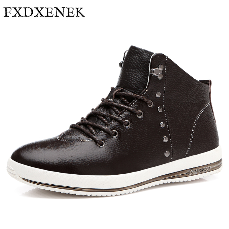 FXDXENEK Brand Leather Men Casual Shoes Genuine Leather High Top Bullock Shoes For Men Designer Luxury Men Casual Flats Shoes top brand high quality genuine leather casual men shoes cow suede comfortable loafers soft breathable shoes men flats warm