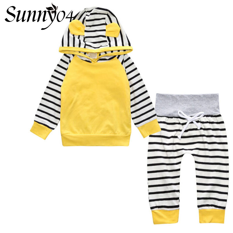227d4c5d8 Infant Kids Cute Clothes 2 pcs Set Autumn 2017 Baby Toddler Boys Girl Long  Sleeve Hooded Tops Sweatshirt + Striped Pants Outfits