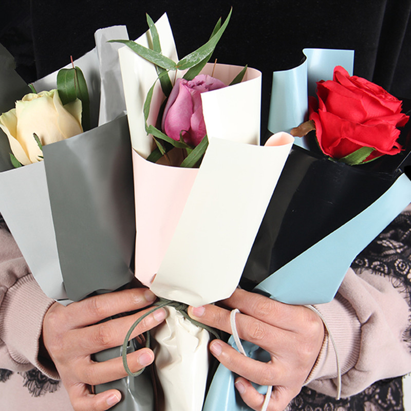 Double Colors Korean Wrapping Paper Waterproof Flower Wrapping Paper Floral Gift Packaging Paper For Flowers Material 20 pcs fake rose flowers