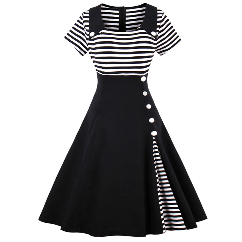 New Women Striped Dresses Colleague Navy Casual A-Line Sress Summer Style Buttons Patchw ...