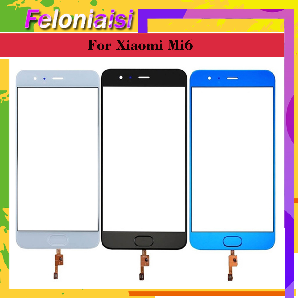 10Pcs lot Original TouchScreen For Xiaomi 6 Mi6 Mi 6 M6 Touch Screen Digitizer Panel Sensor Front Glass with Fingerprint button in Mobile Phone Touch Panel from Cellphones Telecommunications